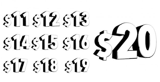 Conjunto de números tipografía moderna estilo negrita 3d