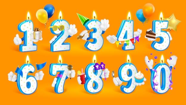 Conjunto de números de vela feliz cumpleaños.