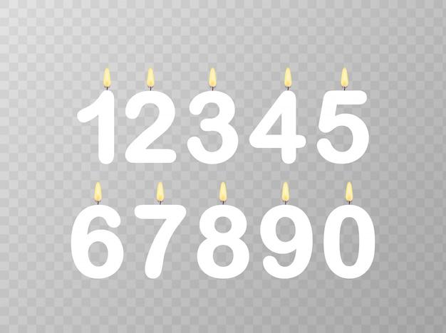 Conjunto de números de velas feliz cumpleaños.