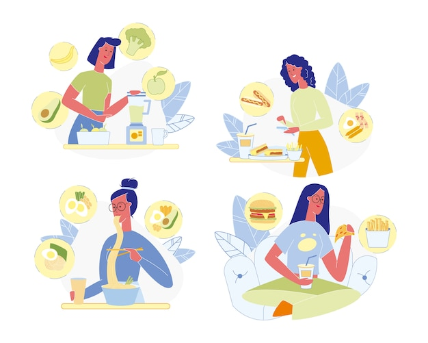 Conjunto de nutrición saludable y no saludable para mujeres jóvenes