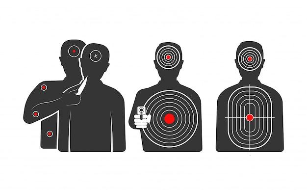 Conjunto de objetivos en forma de siluetas humanas para entrenamientos