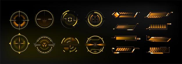 Conjunto de objetivos de nave espacial futurista de ciencia ficción. punto de mira futurista de hud. tema de ubicación óptica y de radar. pantalla del tablero. títulos de llamadas. vector