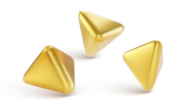 Conjunto de objetos 3d geométricos dorados aislado sobre fondo blanco.