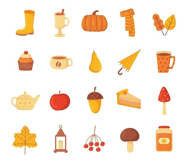 Conjunto de objetos acogedores de otoño.