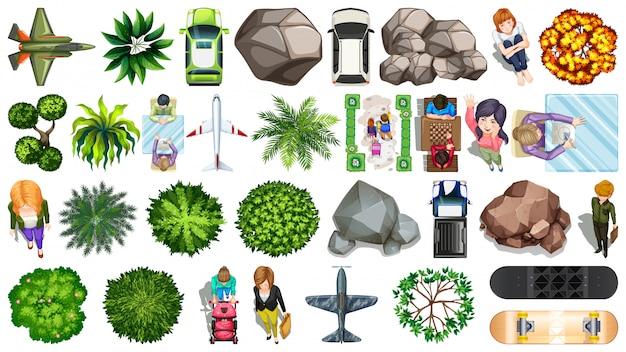 Conjunto de objetos aéreos.