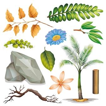 Conjunto de objetos aislados jardinería temática