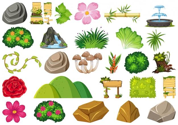 Conjunto de objetos aislados tema - jardinería