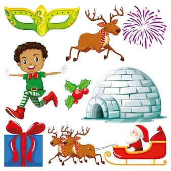 Conjunto de objetos aislados de tema navideño