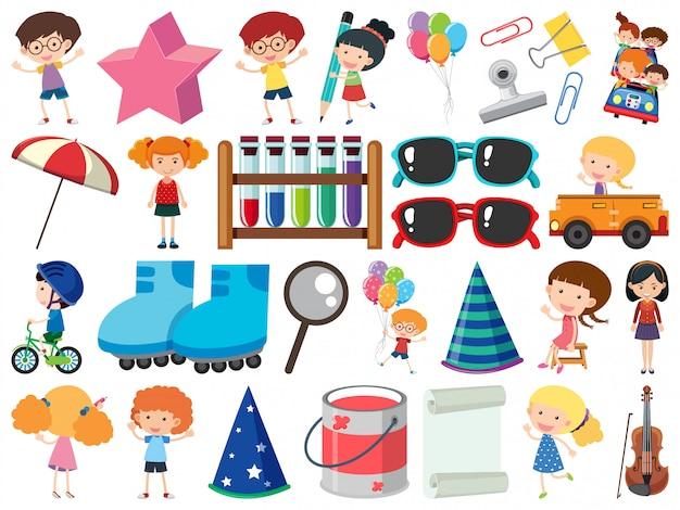 Conjunto de objetos aislados tema niños y artículos escolares