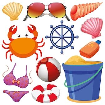 Conjunto de objetos aislados tema vacaciones de verano