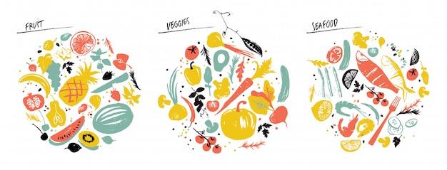Conjunto de objetos alimenticios: mariscos, verduras y frutas.