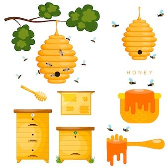 Conjunto de objetos amarillos apicultor.