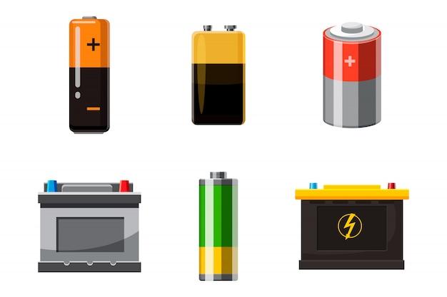 Conjunto de objetos de batería. conjunto de dibujos animados de la batería