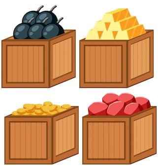 Conjunto de objetos en la caja de madera.