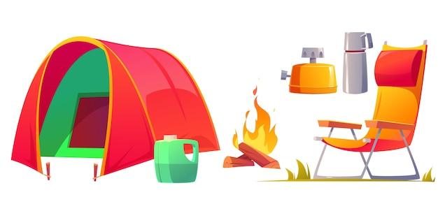 Conjunto de objetos de camping de dibujos animados