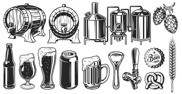 Conjunto de objetos de cerveza