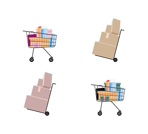 Conjunto de objetos de color plano de carro de mano y carro de supermercado. dolly con paquetes de cartón. carrito de compras. ilustración de dibujos animados aislados para diseño gráfico web y colección de animación