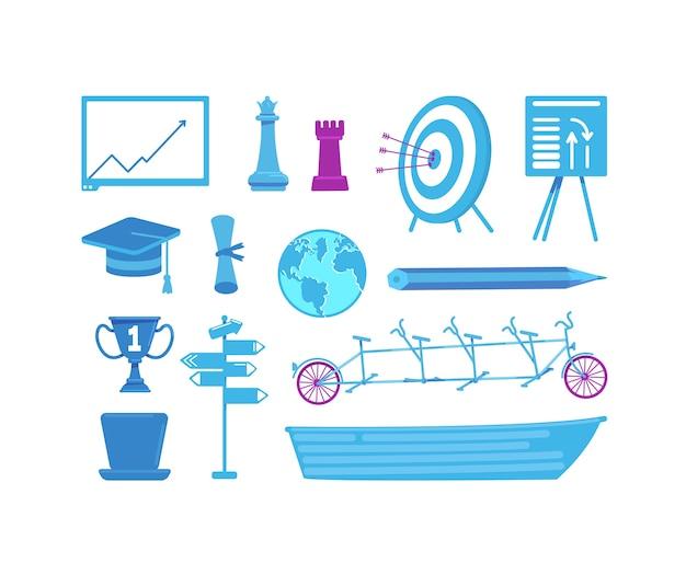 Conjunto de objetos de color plano empresarial y educativo.