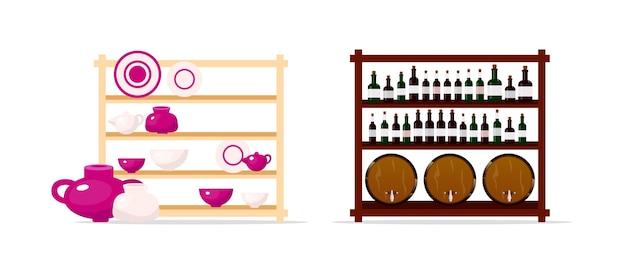 Conjunto de objetos de color plano de exhibición de cerámica y vino. estantes con vasijas de barro. gabinete de vino y barriles aislados ilustración de dibujos animados para diseño gráfico web y colección de animación