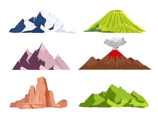 Conjunto de objetos de color plano de montañas