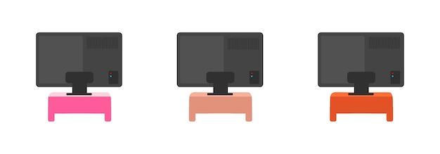 Conjunto de objetos de color plano trasero de televisión. tv en mesas de colores. amplia pantalla de televisión en la parte trasera. equipo de sala de estar aislado de dibujos animados