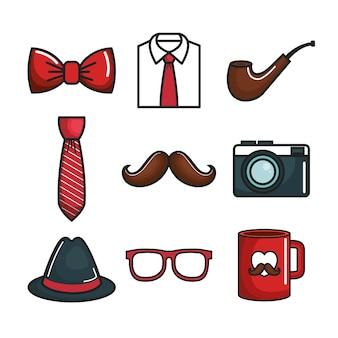 Conjunto de objetos coloridos para hombres