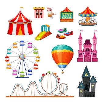 Conjunto de objetos coloridos del parque de atracciones