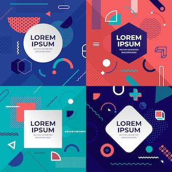 Conjunto de objetos de concepto de diseño de ilustraciones cubiertas de estilo memphis
