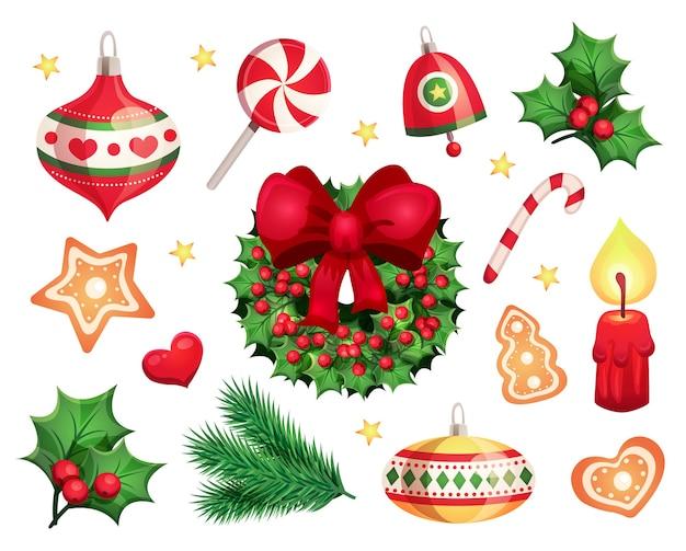 Conjunto de objetos decorativos navideños