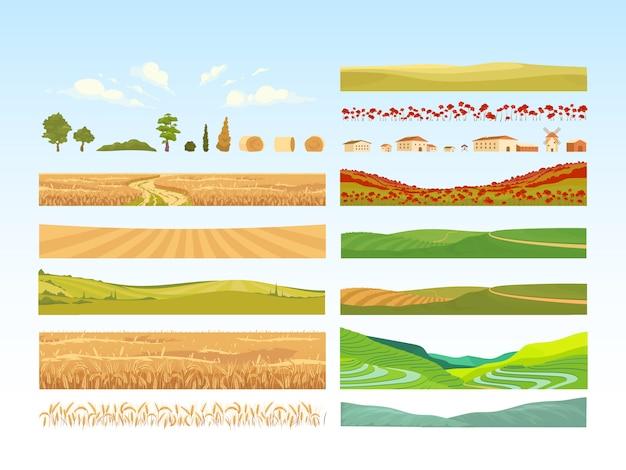 Conjunto de objetos de dibujos animados de agricultura