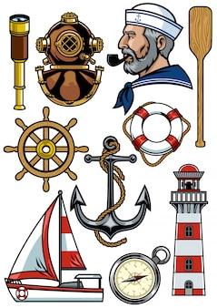 Conjunto de objetos de diseño náutico.
