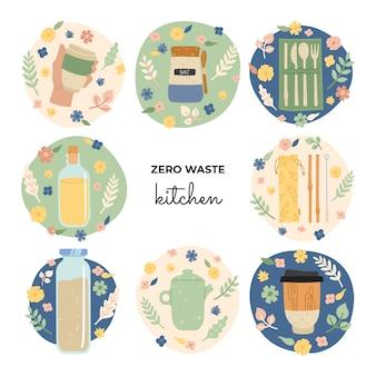 Conjunto de objetos ecológicos de dibujo a mano para cocina, platos, frascos, una taza térmica, una tetera de cerámica, pajitas de bambú, un juego de cubiertos. cero desperdicio, hazte verde.