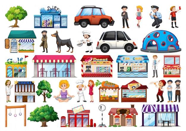 Conjunto de objetos y edificios, transporte.