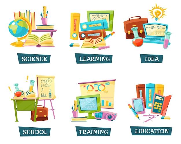 Conjunto de objetos de educación de formación escolar