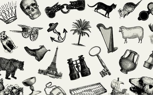Conjunto de objetos europeos vintage
