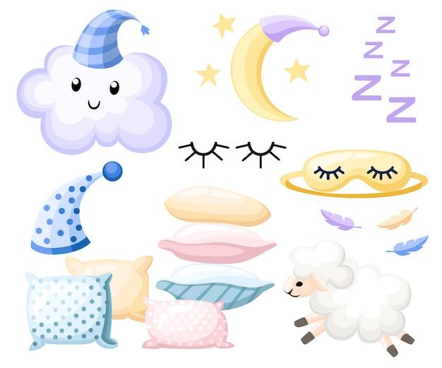 Conjunto de objetos para gorro de dormir para almohada de ensueño, diferentes colores, vendaje de luna de nube de cordero para ojos sobre fondo blanco, ilustración, página web y aplicación móvil