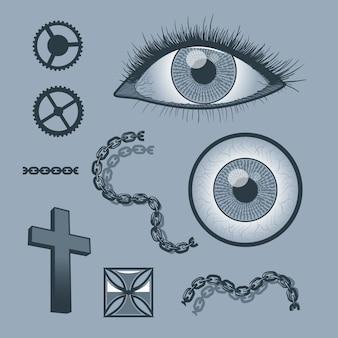 Conjunto de objetos para gráficos de tatuaje.