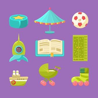 Conjunto de objetos de habitación infantil