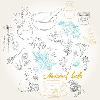 Conjunto de objetos y hierbas para tratar resfriados.