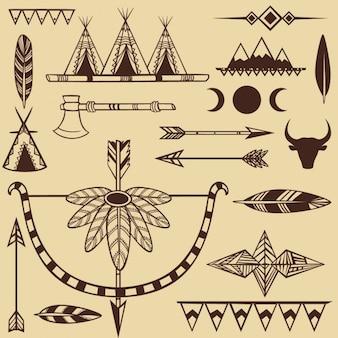 Conjunto de objetos indios americanos