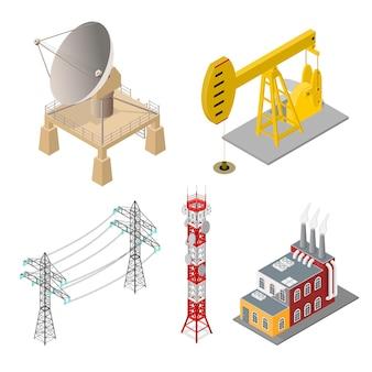 Conjunto de objetos industriales: edificio de fábrica, torre de teléfono móvil, antena parabólica o radar, torre de alta tensión y bomba de aceite, energía isométrica
