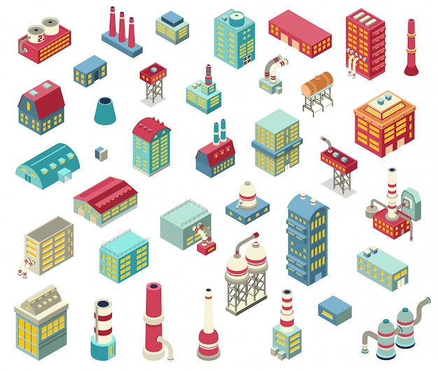 Conjunto de objetos isométricos de fábrica