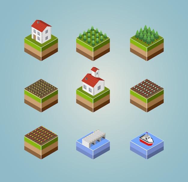 Conjunto de objetos isométricos paisaje campo granja, cosecha y ríos.
