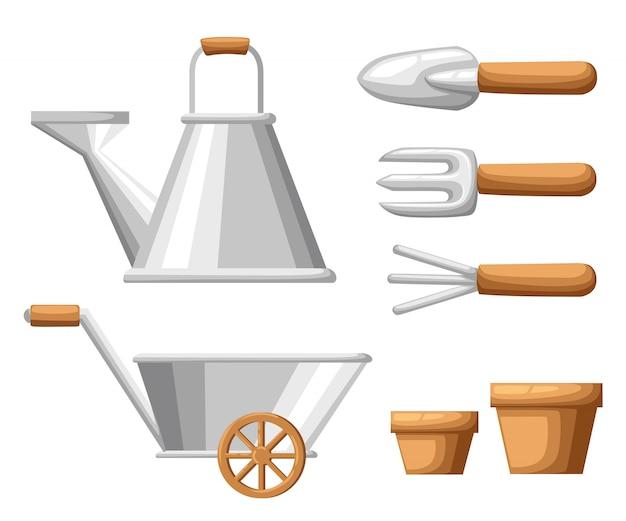 Conjunto de objetos para jardín, regadera de hierro, pala, macetas, rastrillo sobre fondo blanco, ilustración, página web y aplicación móvil