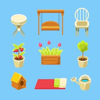 Conjunto de objetos de jardín