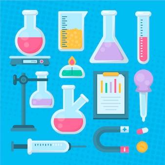Conjunto de objetos de laboratorio de ciencias