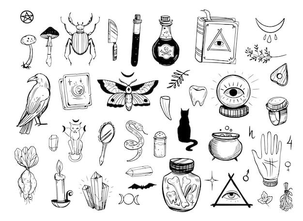 Conjunto de objetos para magia negra. ilustración dibujada a mano aislado en blanco