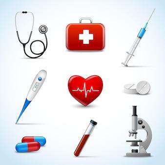 Conjunto de objetos médicos realistas.