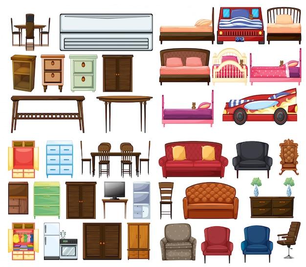 Conjunto de objetos de mueble.