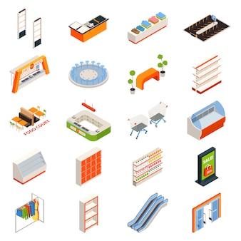 Conjunto de objetos de muebles de hipermercado